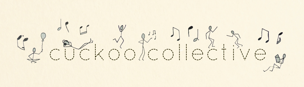 The words Cuckoo Collective in a sewing-stitch font, surrounded by illustrations of musical notes and little stick people dancing, playing, listening to music, singing, reading and sitting with a balloon.